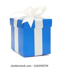 Christmas and New Year's Day , blue gift box white background, clipping path included.