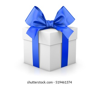 Christmas and New Year's Day , blue gift box white background 3d rendering