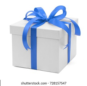 Christmas and New Year's Day , blue gift box white background