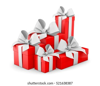 Christmas and New Year's Day , group pile red gift boxes white background 3d rendering