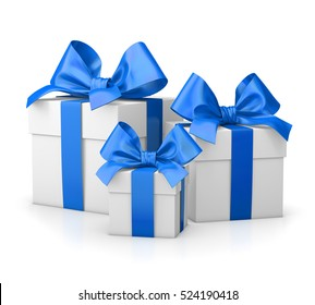 Christmas and New Year's Day , group three blue gift boxes white background 3d rendering
