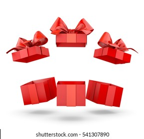 Christmas and New Year's Day , group three open red gift boxes white background copy space 3d rendering