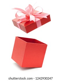 Christmas and New Year's Day ,Open red gift box white background