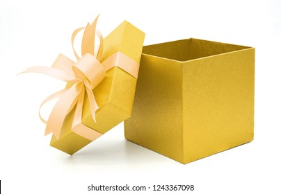 Christmas and New Year's Day ,Open yellow gift box white background