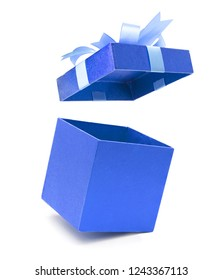 Christmas and New Year's Day ,Open blue sky gift box white background