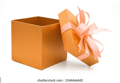 Christmas and New Year's Day ,Open orange gift box white background