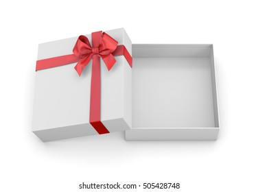 Christmas and New Year's Day ,Open red gift box top view white background 3d rendering