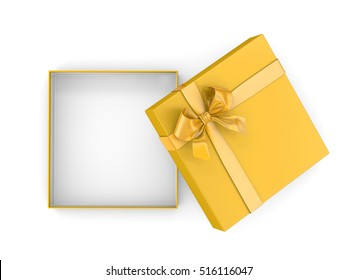 Christmas and New Year's Day ,Open yellow gold  gift box top view white background 3d rendering