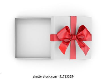Christmas, New Year's Day ,Open red gift box top view white background 3d rendering