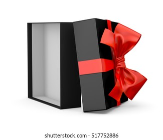 Christmas and New Year's Day ,Open red black gift ribbon bow box white background 3d rendering