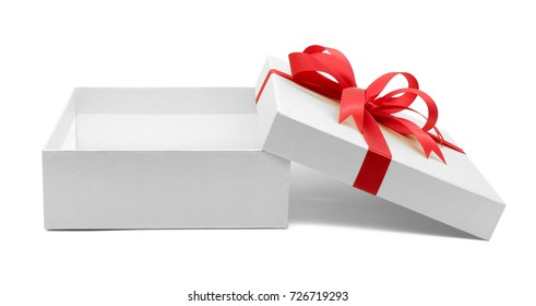 Christmas and New Year's Day , Open red gift box white background with clipping path