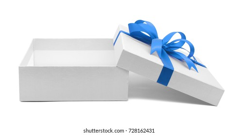 Christmas and New Year's Day , Open blue gift box white background with clipping path