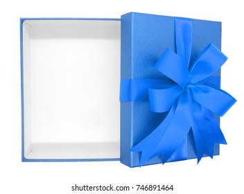 Christmas, New Year's Day ,Open blue gift box top view white background