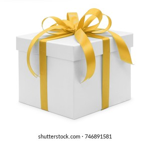 Christmas and New Year's Day , Open yellow gift box white background with clipping path