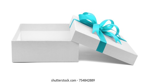 Christmas and New Year's Day , Open blue sky gift box white background with clipping path