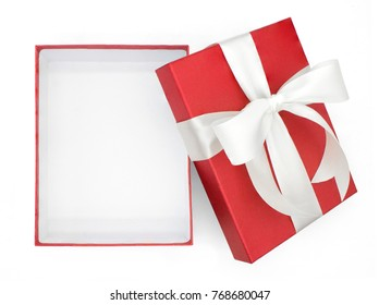 Christmas and New Year's Day ,open red white gift box top view white background