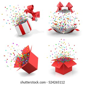Christmas and New Year's Day , Opened gift box with red bow and confetti. 3d rendering