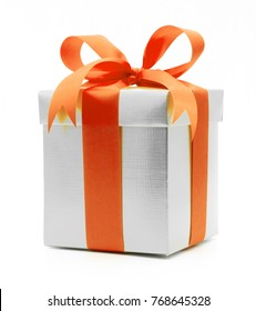 Christmas and New Year's Day , orange gift box white background gift box white background