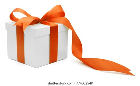 Christmas and New Year's Day , orange gift box  white background isolated with clipping path