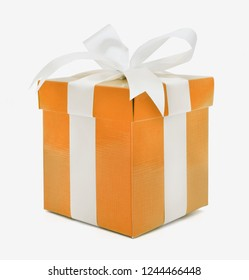 Christmas and New Year's Day , orangegift box white background, clipping path included.