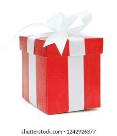 Christmas and New Year's Day , red gift box white background, clipping path included.