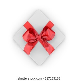 Christmas and New Year's Day , red gift box top view white background 3d rendering