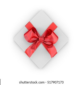 Christmas, New Year's Day , red gift box top view white background 3d rendering