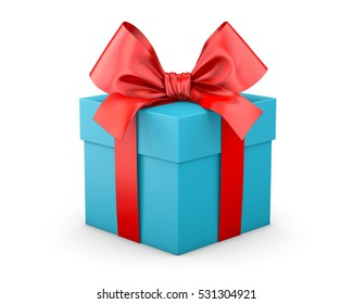 Christmas and New Year's Day ,red blue sky gift box white background 3d rendering