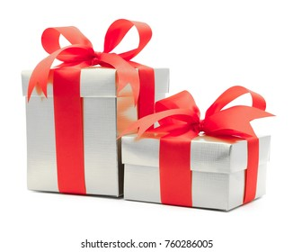 Christmas and New Year's Day , red gift box white background