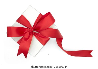 Christmas and New Year's Day , red gift box top view white background isolated with clipping path