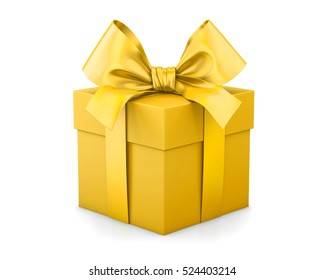 Christmas and New Year's Day , yellow gold gift box white background 3d rendering