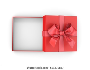 Christmas and New Year's Dayy ,Open red gift box top view on white background 3d rendering