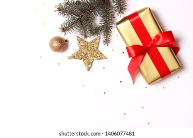 Christmas or New Year's gifts on a light background.