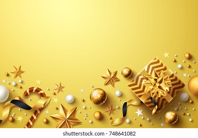 Christmas and New Years Golden Background with golden gift box,ribbon and christmas decoration elements.Holiday Background with copy space for Christmas and New Years