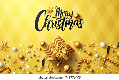 Christmas and New Years Golden background with golden gift box,ribbon and christmas decoration elements for Retail,Shopping or Christmas Promotion in golden style