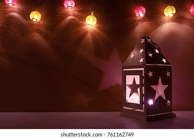Christmas and New Year's night background with decorative lights