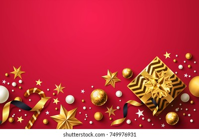 Christmas and New Years Red background with golden gift box,ribbon and christmas decoration elements for Retail,Shopping or Christmas Promotion