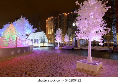 """Christmas night Moscow ---  Music Forest on Pushkin Square (Festival """"Journey to Christmas""""),  Russia"""