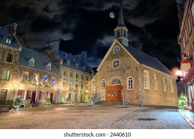 Christmas night at Place-Royale, Quebec City, Canada