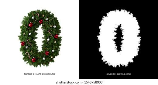 Christmas number 0. Christmas typography.