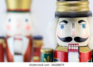 Christmas nutcracker close up on a white background