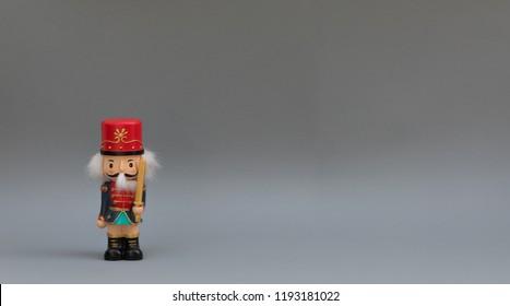 christmas nutcracker on gray background