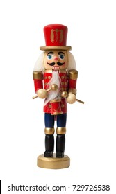 Christmas nutcracker toy soldier traditional figurine, Isolated on white background