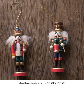 christmas nutcrackers  for christmas decoration on dark wooden background