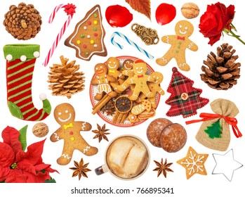 Christmas Objects Isolated on White Background. Contains: stocking, gingerbread, tree, hot drink, sack, flower, star anise, spices, candy cane, rose, cookie cutter, star, petal, pine cone