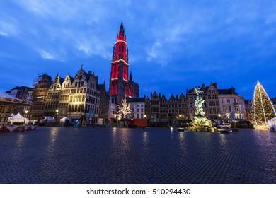 Christmas on Grote Markt in Antwerp. Antwerp,  Flemish Region, Belgium.