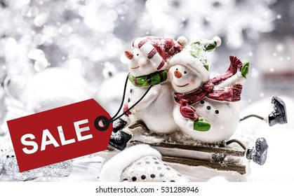 Christmas on sale, Promotion with price tag on Winter