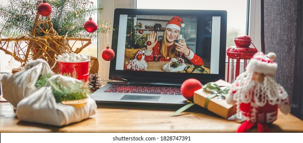 Christmas online holiday remote celebration X mas new year in lockdown coronavirus quarantine covid 19 new normal, social distance, remote communication, stay home vocation, Christmas party online - Shutterstock ID 1828747391