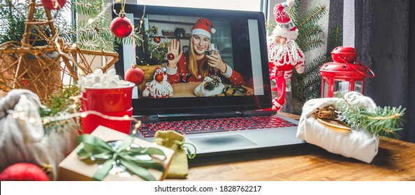 Christmas online holiday remote celebration X mas new year in lockdown coronavirus quarantine covid 19 new normal, social distance, remote communication, stay home vocation, Christmas party online - Shutterstock ID 1828762217