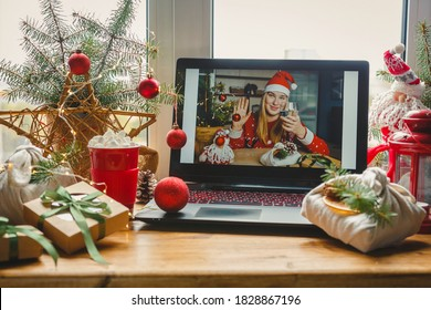 Christmas online holiday remote celebration X mas new year in lockdown coronavirus quarantine covid 19 new normal,social distance, remote communication, stay home vocation,Christmas party online - Shutterstock ID 1828867196